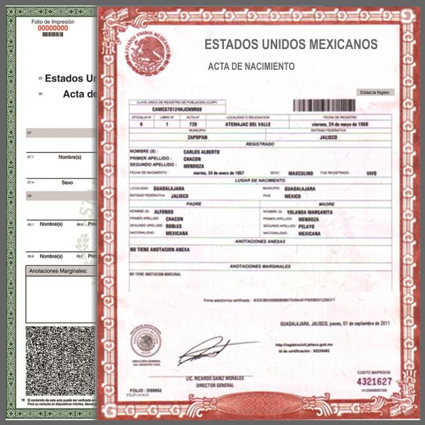 Acta de Nacimiento en Linea Estado de México