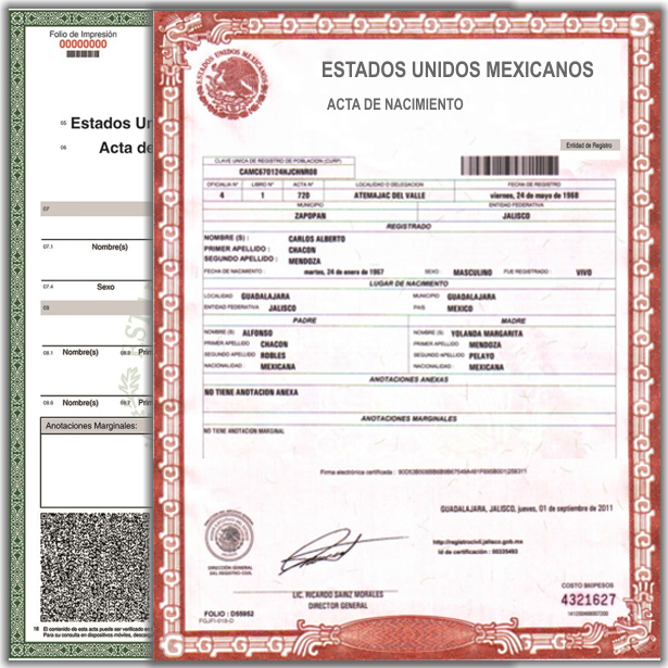 Acta de Nacimiento en Linea México